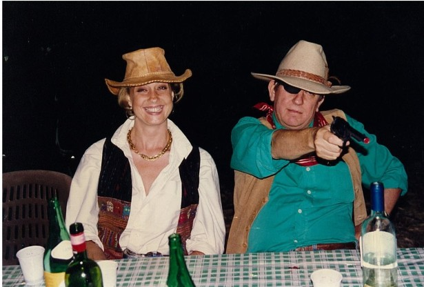 At 50 as Rooster Cogburn with Diamond Lil De Rham, owner of the Silver Slipper. Lil was lightning fast on the draw and is famous for having read the entire works of Shakespeare while riding shotgun for the Overland Stage